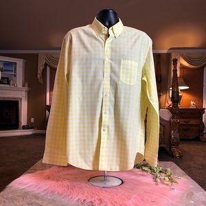J. Crew Yellow Plaid Button Down Shirt Size XL